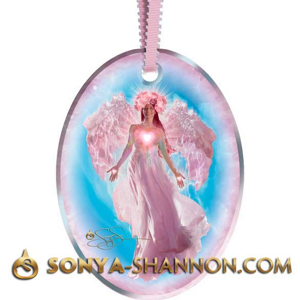 Rose Quartz Angel Christmas Ornament