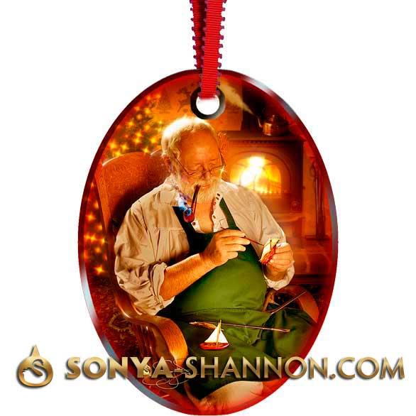 Workshop Santa Christmas Ornament