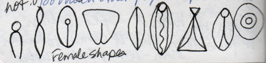 female shapes, sketched by Sonya Shannon