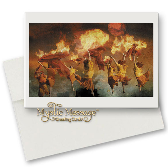 Mystic message greeting cards featuring the visionary artwork of burning down the house greeting card m4hsunfo